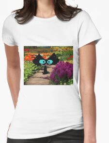 Black Cat At A Garden Womens Fitted T-Shirt