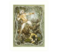 Elves & Orcs, the Battle Under the Trees Art Print