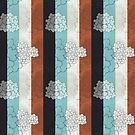Chinese Flowers & Stripes - Brown Cream Turquoise Blue by Katayoonphotos
