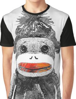 Sock Monkey Art In Black White And Red - By Sharon Cummings Graphic T-Shirt