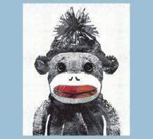 Sock Monkey Art In Black White And Red - By Sharon Cummings Kids Tee