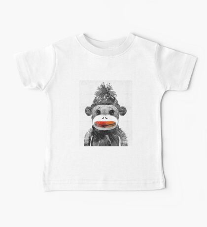 Sock Monkey Art In Black White And Red - By Sharon Cummings Baby Tee