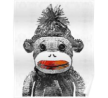 Sock Monkey Art In Black White And Red - By Sharon Cummings Poster