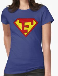 Superman F Letter Womens Fitted T-Shirt