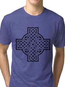 White Celtic Cross Tri-blend T-Shirt