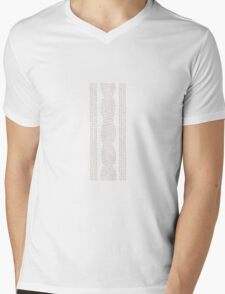 Cable Row Grey Mens V-Neck T-Shirt