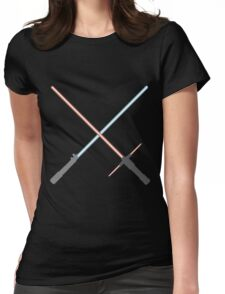 Kylo Ren and Rey Lightsabers Womens Fitted T-Shirt
