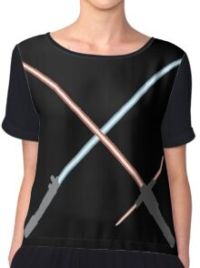 Kylo Ren and Rey Lightsabers Chiffon Top