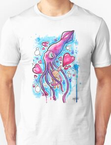 CUTE SQUID BUNNY LOVE - Watercolor T shirts + More! T-Shirt