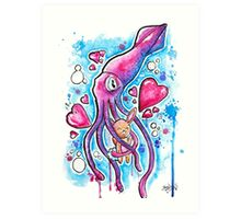 CUTE SQUID BUNNY LOVE - Watercolor T shirts + More! Art Print