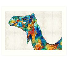 Colorful Camel Art by Sharon Cummings Art Print