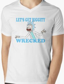 rick and morty, rick, morty, tv, comedy, cartoon, rick sanchez, riggity, wuba, wrecked, free, funny, show. Mens V-Neck T-Shirt