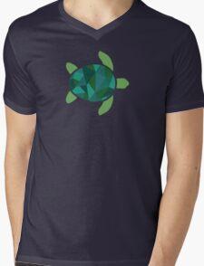Geometric Sea Turtle Mens V-Neck T-Shirt