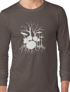 """""""Live the Beat to the Tempo of Creation"""" ~ drum tree art , version1 Long Sleeve T-Shirt"""