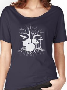 """Live the Beat to the Tempo of Creation"" ~ drum tree art , version1 Women's Relaxed Fit T-Shirt"