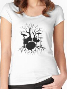 """Live the Beat to the Tempo of Creation"" ~ drum tree art, version2 Women's Fitted Scoop T-Shirt"