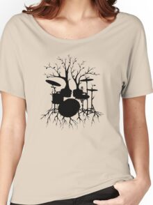 """""""Live the Beat to the Tempo of Creation"""" ~ drum tree art, version2 Women's Relaxed Fit T-Shirt"""