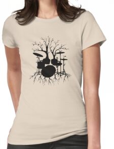 """""""Live the Beat to the Tempo of Creation"""" ~ drum tree art, version2 Womens Fitted T-Shirt"""