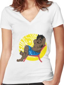 Relax - Small Dude Collection Women's Fitted V-Neck T-Shirt