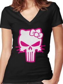 Punisher Kitty Pink Women's Fitted V-Neck T-Shirt