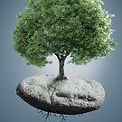 Tree on suspended rock by jordygraph