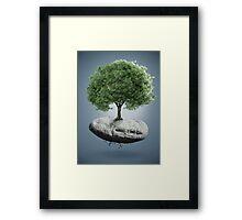 Tree on suspended rock Framed Print