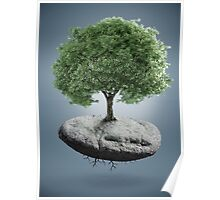 Tree on suspended rock Poster