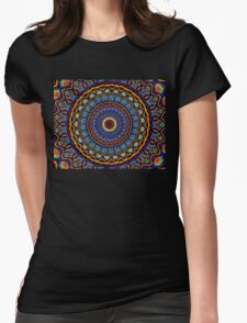 Kaleidoscope 4 abstract stained glass mandala pattern Womens Fitted T-Shirt