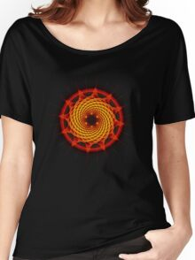 Merkaba Spiral Mandala Red   ( Fractal Geometry ) Women's Relaxed Fit T-Shirt