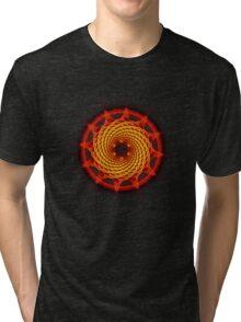 Merkaba Spiral Mandala Red   ( Fractal Geometry ) Tri-blend T-Shirt
