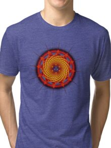 Merkaba Spiral Mandala Red   ( Fractal Geometry ) Tri-blend T-Shirt