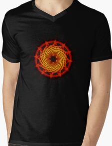 Merkaba Spiral Mandala Red   ( Fractal Geometry ) Mens V-Neck T-Shirt