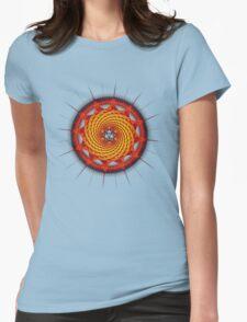 Merkaba Spiral Mandala Red   ( Fractal Geometry ) Womens Fitted T-Shirt