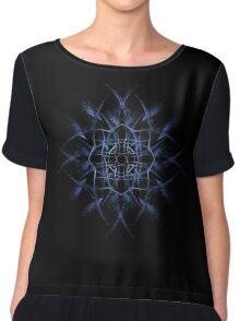 Barbed Blue - Fractal Art design Chiffon Top