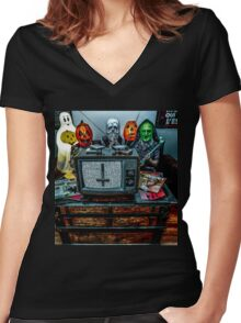 Halloween III - Say You Love Satan 80s Horror Podcast Women's Fitted V-Neck T-Shirt