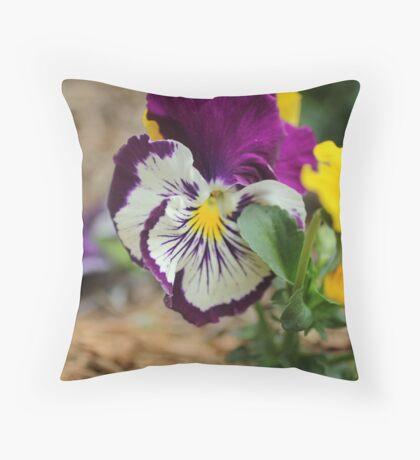 Deep Purple and Yellow Flowers Throw Pillow