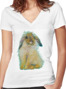Bunny Rabbit painting on white background Women's Fitted V-Neck T-Shirt