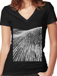 Abstract Field (white) Women's Fitted V-Neck T-Shirt
