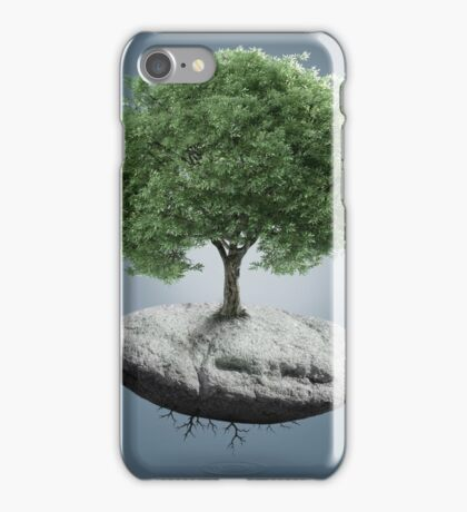 Tree on suspended rock iPhone Case/Skin
