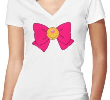 Sailor Moon Bow Women's Fitted V-Neck T-Shirt