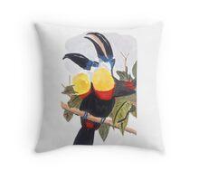 Tropical Birds - Natural Throw Pillow