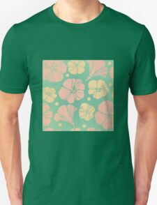 Retro,vintage,floral pattern,pink,orange,green,grunge,rustic,big flowers,girly,70's T-Shirt