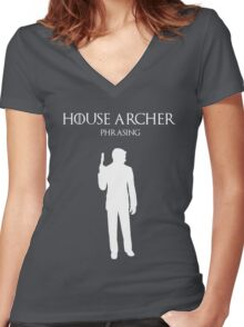 House Archer Women's Fitted V-Neck T-Shirt