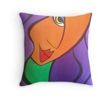 Hello lady in orange! Throw Pillow