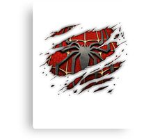 Spiderman Chest Ripped Canvas Print