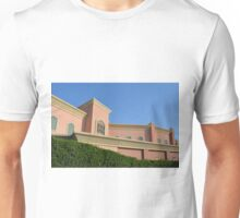 Pink building with Arabic arch window decorations. Unisex T-Shirt