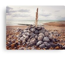 Still Life with Pebbles and a Feather Canvas Print