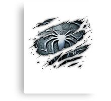 Dark Spiderman Chest Ripped Canvas Print