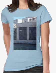 Building by the water with metal protection. Womens Fitted T-Shirt