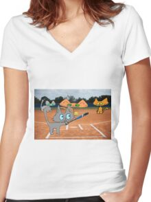 Cats Play Playing Softball! Women's Fitted V-Neck T-Shirt